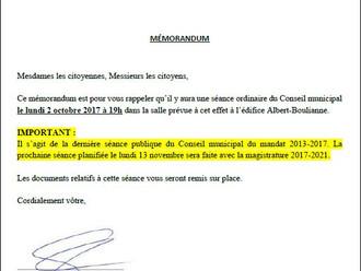AVIS DE CONVOCATION - Conseil municipal - Assemblée publique d'octobre 2017