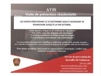 Informations de votre Service de prévention des incendies - Visite 2020