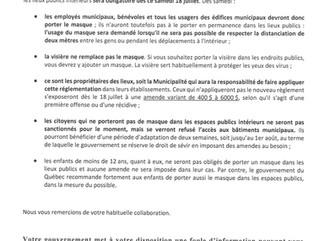 AVIS PUBLIC - PORT DU COUVRE-VISAGE OBLIGATOIRE