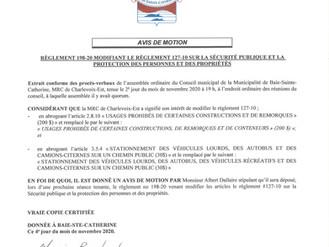 AVIS DE MOTION - Règlement 198-20