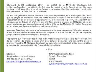 COMMUNIQUÉ DE PRESSE - MRC de Charlevoix-Est - Modernisation de l'Hôpital de La Malbaie