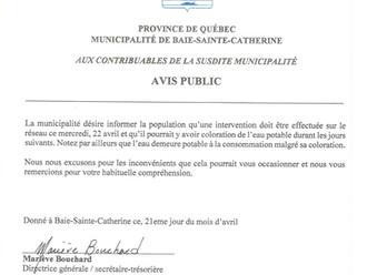 AVIS PUBLIC - Intervention sur le réseau d'aqueduc ce mercredi, 22 avril 2020