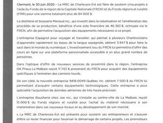 La MRC de Charlevoix-Est soutient cinq projets