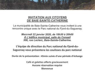 RAPPEL ! Rencontre d'information - Parc national du Fjord du Saguenay ... c'est CE soir !