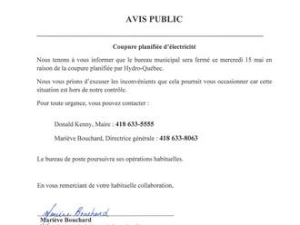 AVIS PUBLIC - Horaire bureau municipal - Mercredi 15 mai 2019