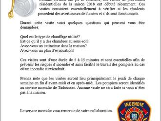 VISITE DE PRÉVENTION DU SERVICE DE SÉCURITÉ INCENDIE DE LA MUNICIPALITÉ