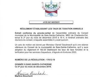 Avis de motion - Règlement établissant les taux de taxation annuels