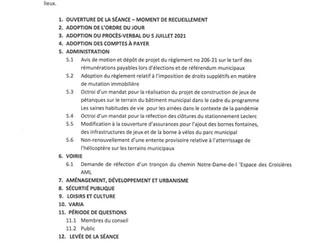 Avis public - Séance ordinaire du conseil 2 août 2021