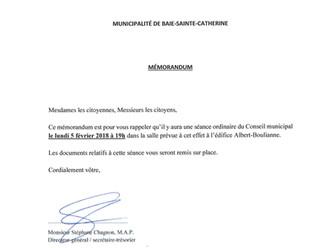 AVIS DE CONVOCATION - Conseil municipal - Assemblée publique de février 2018