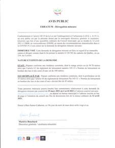 AVIS PUBLIC - ERRATUM DÉROGATION MINEURE