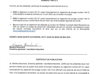 AVIS PUBLIC - PROMULGATION DU RÈGLEMENT 201-21 VISANT L'AMENDEMENT DU RÈGLEMENT DE ZONAGE 144-13