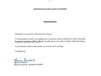 AVIS DE CONVOCATION - Conseil municipal - Assemblée publique Septembre 2018