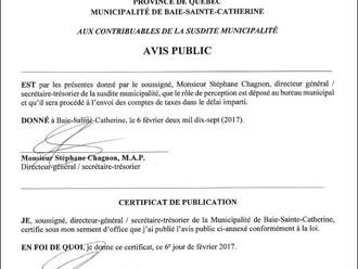 AVIS PUBLIC - DÉPÔT DU RÔLE DE PERCEPTION