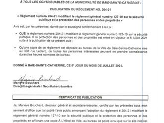 Avis de promulgation - Règlement no. 204-21