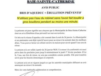 AVIS PUBLIC - BRIS D'AQUEDUC ET AVIS PRÉVENTIF D'ÉBULLITION D'EAU