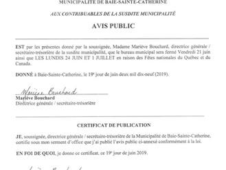 AVIS PUBLIC - Fermeture du bureau municipal - Fêtes nationales du Québec et du Canada
