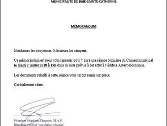 AVIS DE CONVOCATION - Conseil municipal - Assemblée publique Juillet 2018