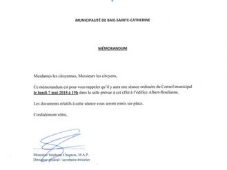 AVIS DE CONVOCATION - Conseil municipal - Assemblée publique Mai 2018