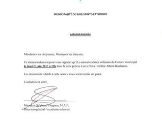 AVIS DE CONVOCATION - Conseil municipal - Assemblée Juin 2017