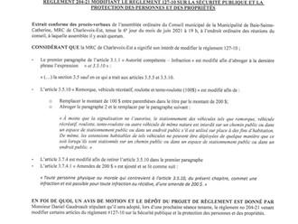 Avis de motion et dépôt de projet - Amendement au règlement 127-10 sur la sécurité publique