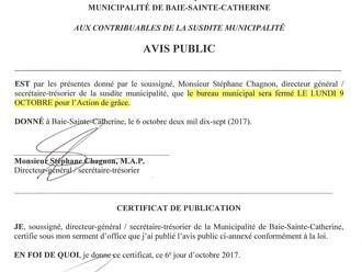 AVIS PUBLIC - FERMETURE DU BUREAU MUNICIPAL BSC - Action de grâce 2017