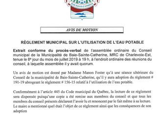 AVIS DE MOTION - Règlement municipal sur l'utilisation de l'eau potable