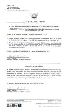 Avis de promulgation - Amendement au règlement 203-21 sur la gestion contractuelle