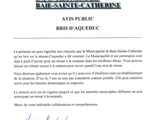 AVIS IMPORTANT AUX CITOYENS - BRIS D'AQUEDUC