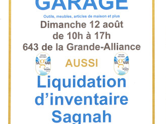 VENTE DE GARAGE - 12 AOÛT - 643, route de la Grande-Alliance