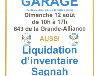 VENTE DE GARAGE - 12 AOÛT - 643, route de la Grande-Alliance