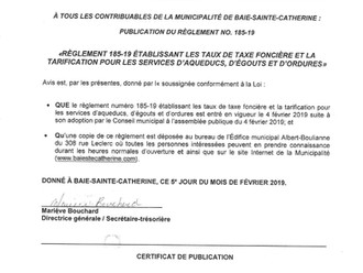 AVIS DE PROMULGATION - RÈGLEMENT MUNICIPAL # 185-19 ÉTABLISSANT LES TAUX DE TAXE FONCIÈRE ET LA TARI