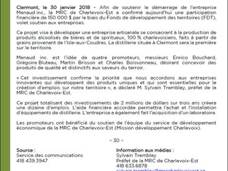 COMMUNIQUÉ DE PRESSE - MENAUD MAÎTRE BRASSEUR SOUTENU PAR LA MRC DE CHARLEVOIX-EST