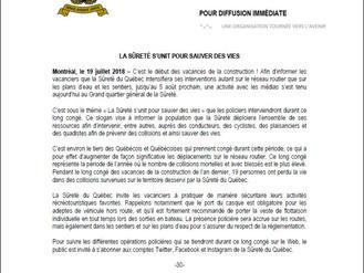 COMMUNIQUÉ DE PRESSE - SÛRETÉ DU QUÉBEC - PRÉSENCE POLICIÈRE À VENIR