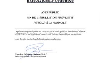 AVIS PUBLIC - FIN DE L'AVIS PRÉVENTIF D'ÉBULLITION D'EAU