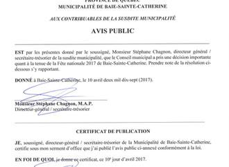 AVIS PUBLIC - FÊTE NATIONALE 2017