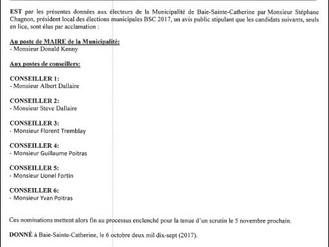 AVIS PUBLIC - ÉLECTION MUNICIPALE BSC 2017 - ÉLECTIONS PAR ACCLAMATION