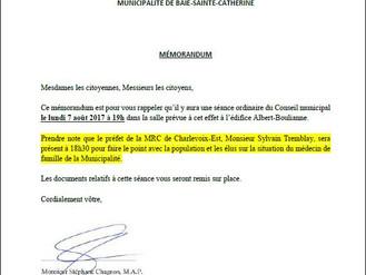 AVIS DE CONVOCATION - Conseil municipal - Assemblée Août 2017