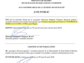 AVIS PUBLIC - Fermeture de l'Hôtel de Ville - Congé Pascal 2018