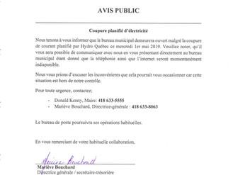 AVIS PUBLIC - Horaire bureau municipal - Mercredi 1er mai 2019