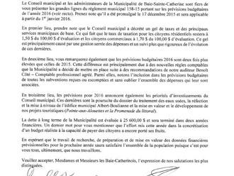 Règlement municipal 158-15 - Prévisions budgétaires 2016