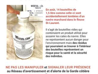 Bouteilles à la Mer !!! Message important de la Garde côtière canadienne.