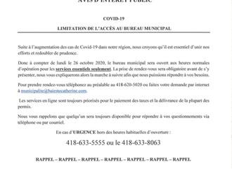 COVID-19   LIMITATION DE L'ACCÈS AU BUREAU MUNICIPAL