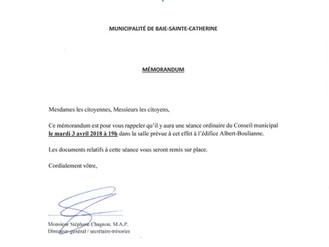 AVIS DE CONVOCATION - Conseil municipal - Assemblée publique d'avril 2018