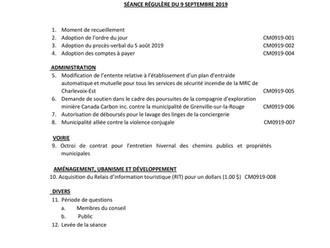 Mémorandum - Séance du Conseil municipal - 9 septembre 2019