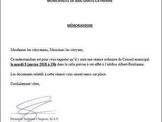 AVIS DE CONVOCATION - Conseil municipal - Assemblée publique de janvier 2018