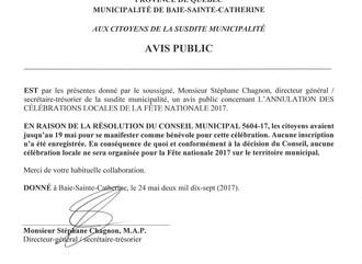 AVIS PUBLIC - ANNULATION DE LA FÊTE NATIONALE BSC 2017