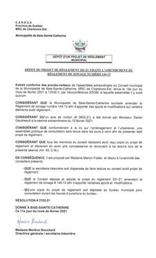Avis de motion et dépôt du projet de règlement 201-21 visant l'amendement du règlement de 144-13