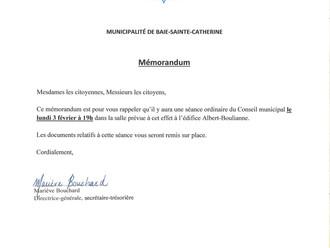 Séance ordinaire du Conseil municipal - 3 février 2020