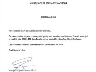 AVIS DE CONVOCATION - Conseil municipal - Assemblée publique Juin 2018
