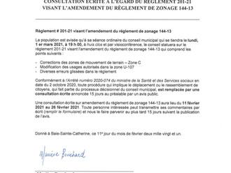 Consultation écrite à l'égard du règlement 201-21 visant l'amendement du règlement 144-13